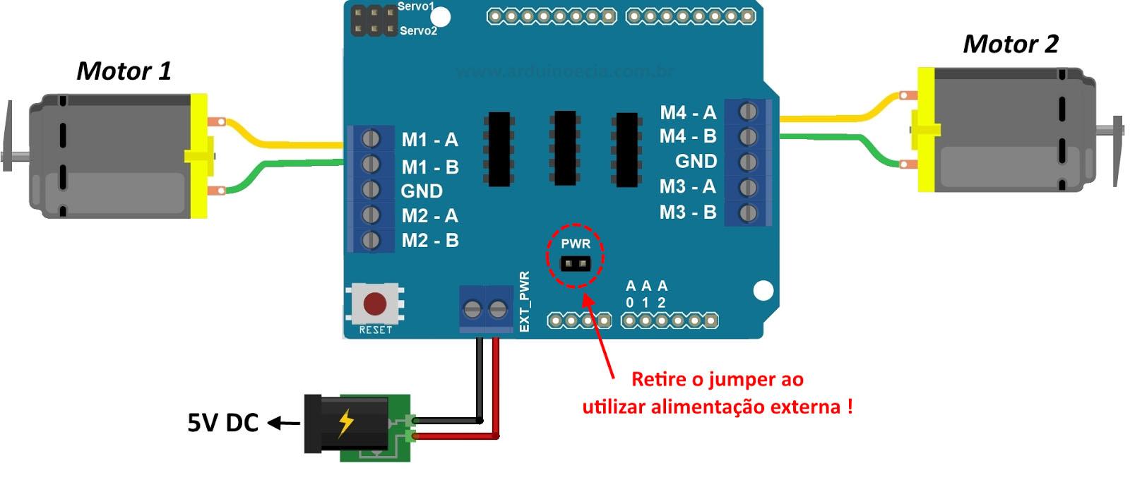 Arduino Motor Shield L293D dong co