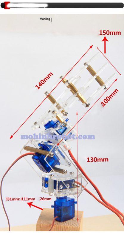 Cánh tay robot ba chiều mica trong